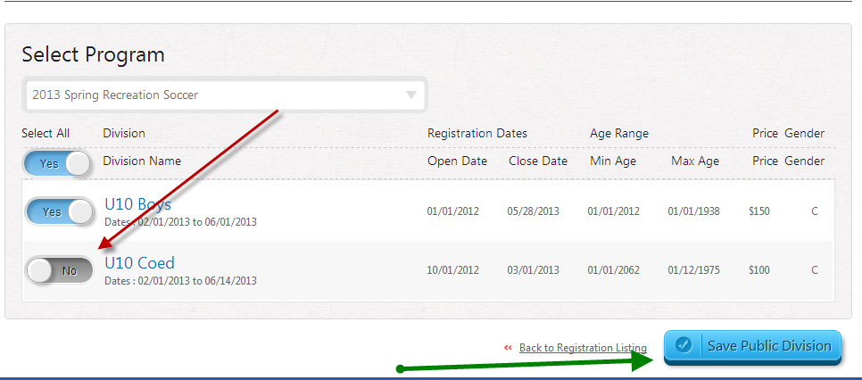 registration listing module 2