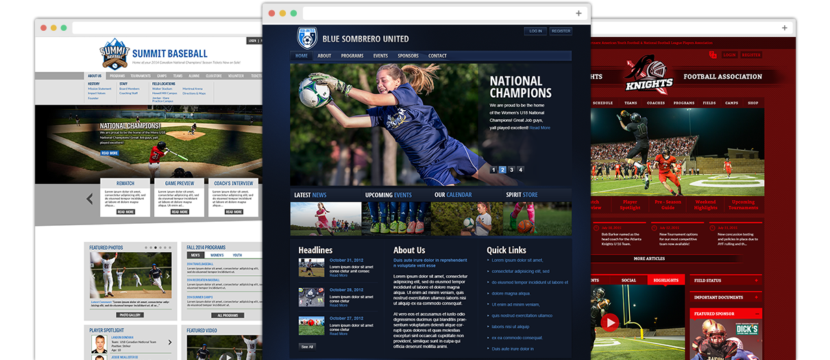 sports website templates