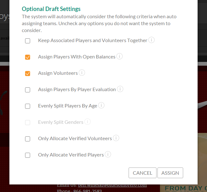 team building draft settings